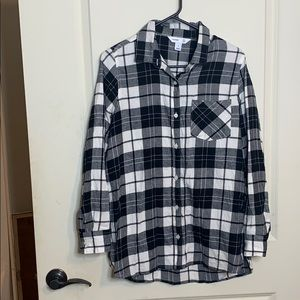 "Black and White ""the tunic shirt"" Flannel"